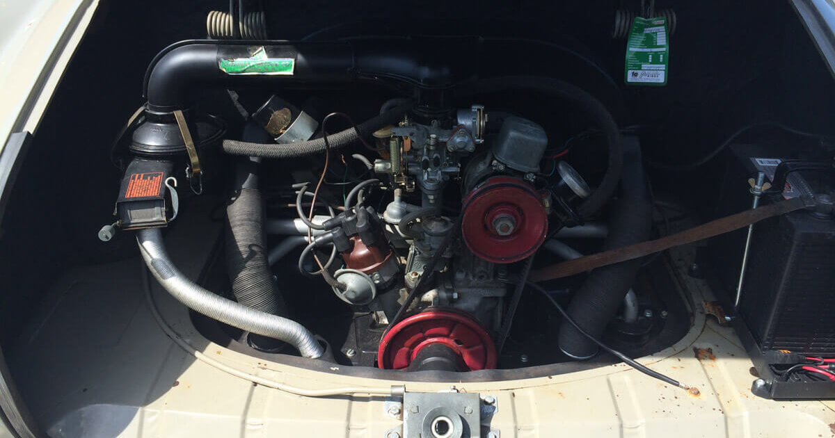 Restauration Karmann Ghia 1965 seesand L568 / perlweiss L87 Motor
